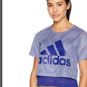 Adidas Mesh Jersey Crop Top Multi-layered Blue